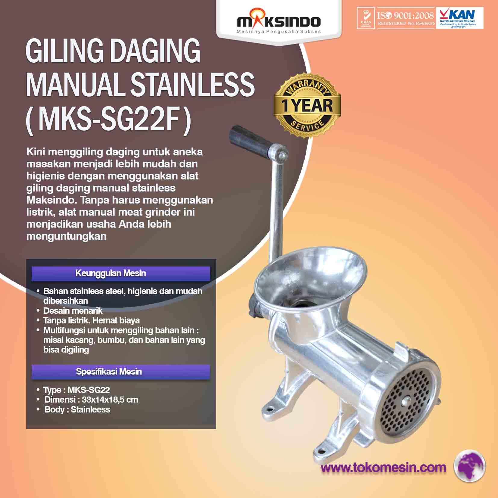 Jual Giling Daging Manual Stainless MKS-SG10 di Yogyakarta .