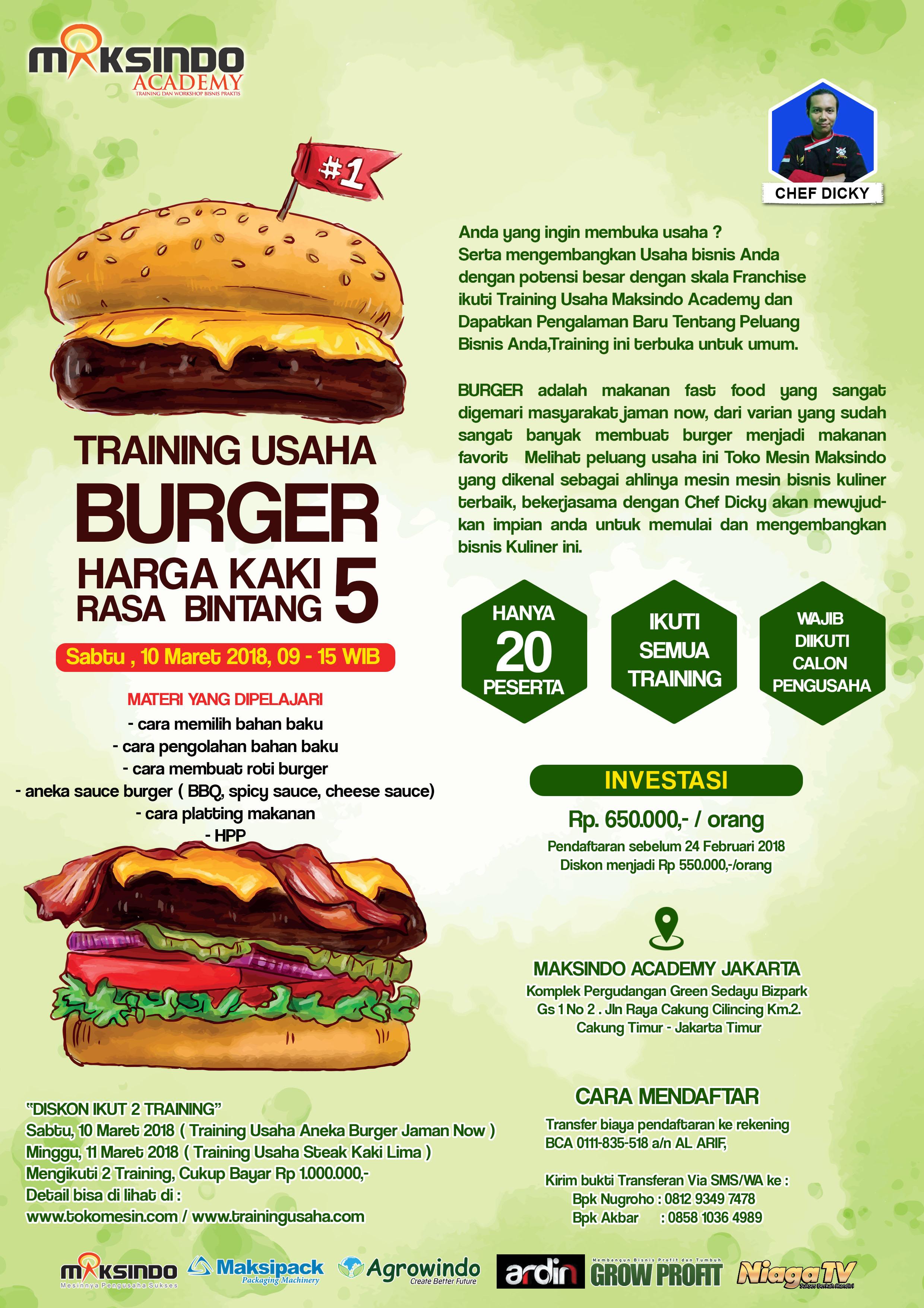 Training Usaha Burger 10 Maret 2018 Toko Mesin Maksindo