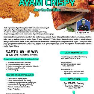 Training Usaha Ayam Crispy dan Cordon Bleu, 28 Juli 2018