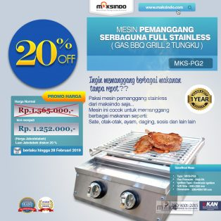 Jual Pemanggang Serbaguna – Gas BBQ Grill 2 Tungku Full Stainless di Yogyakarta