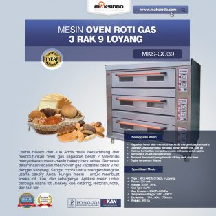 Jual Mesin Oven Roti Gas 3 Rak 9 Loyang (GO39) di Yogyakarta