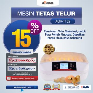 Jual Mesin Penetas Telur 32 Butir (AGR-TT32) di Yogyakarta