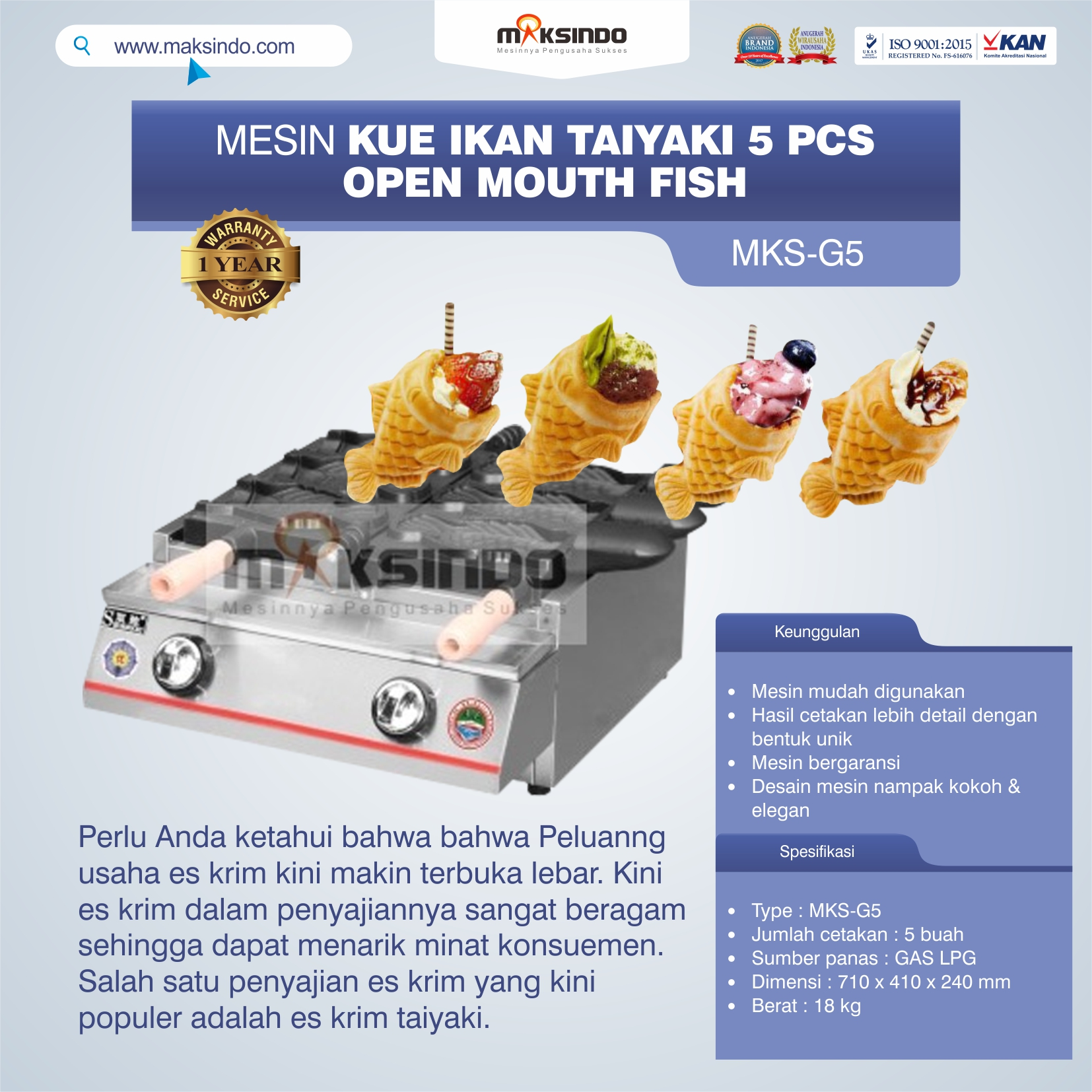 Jual Mesin Kue Ikan Taiyaki 5 Pcs – Open Mouth Fish di Yogyakarta