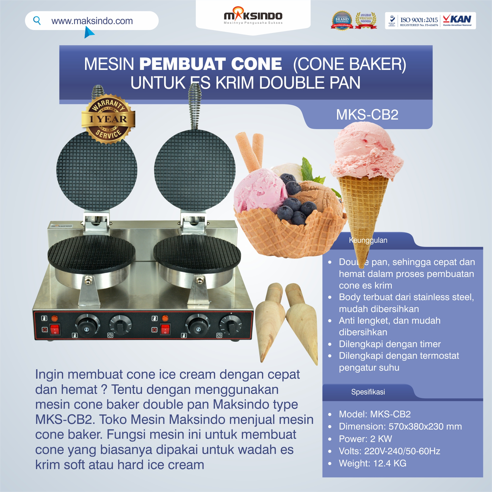 Jual Pembuat Cone Ice Cream (CB2) di Yogyakarta