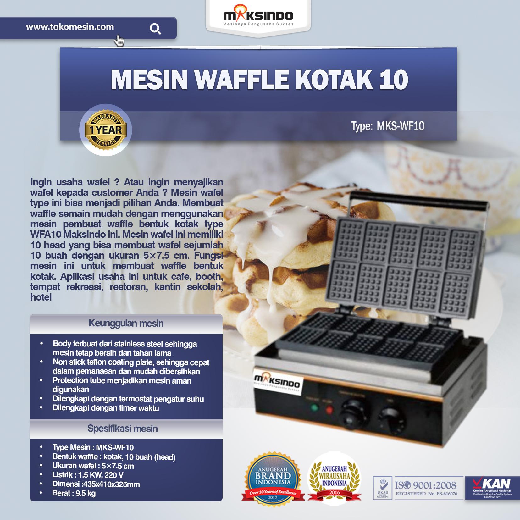 Jual Mesin Waffle Kotak 10 (WF10) di Yogyakarta
