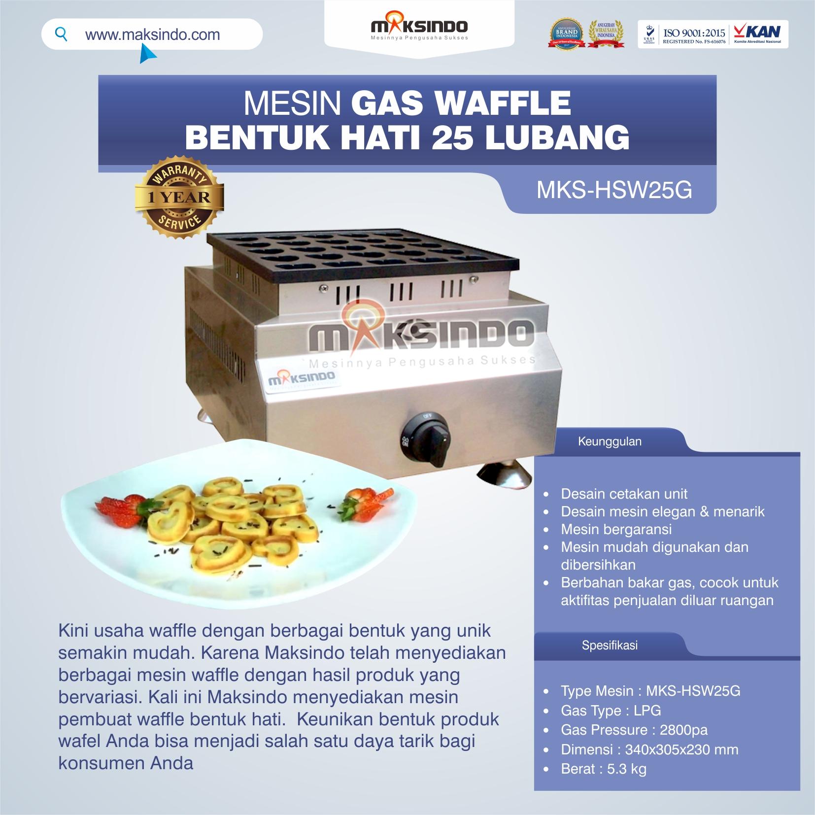 Jual Gas Waffle Bentuk Hati 25 Lubang MKS-HSW25G di Yogyakarta