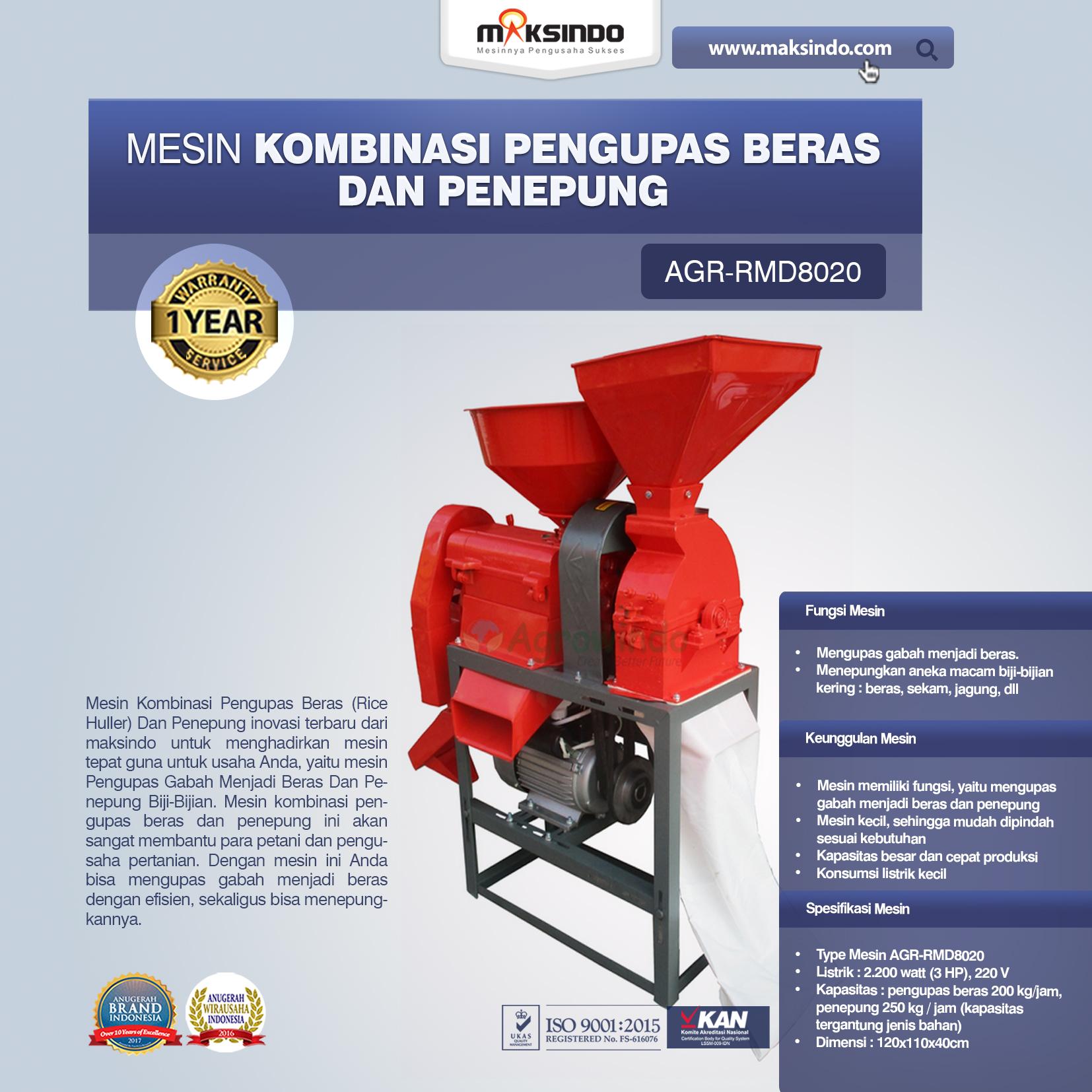 Jual Kombinasi Pengupas Beras dan Penepung AGR-RMD802 di Yogyakarta
