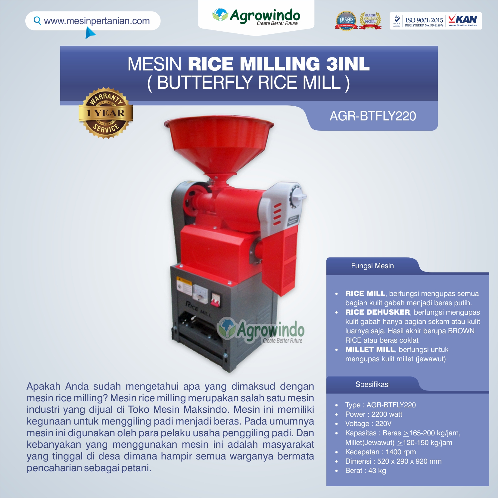Jual Mesin Rice Milling 3in1 (Butterfly Rice Mill) AGR-BTFLY220 di Yogyakarta