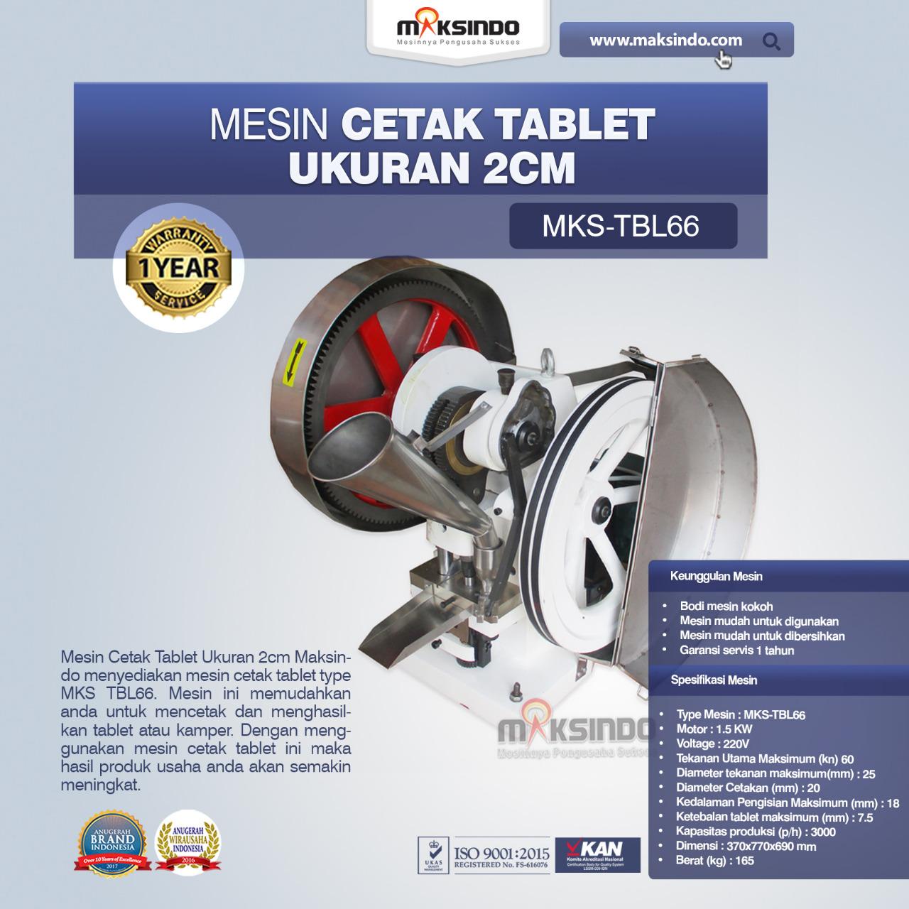 Jual Mesin Cetak Tablet Ukuran 2 Cm MKS-TBL66 di Yogyakarta
