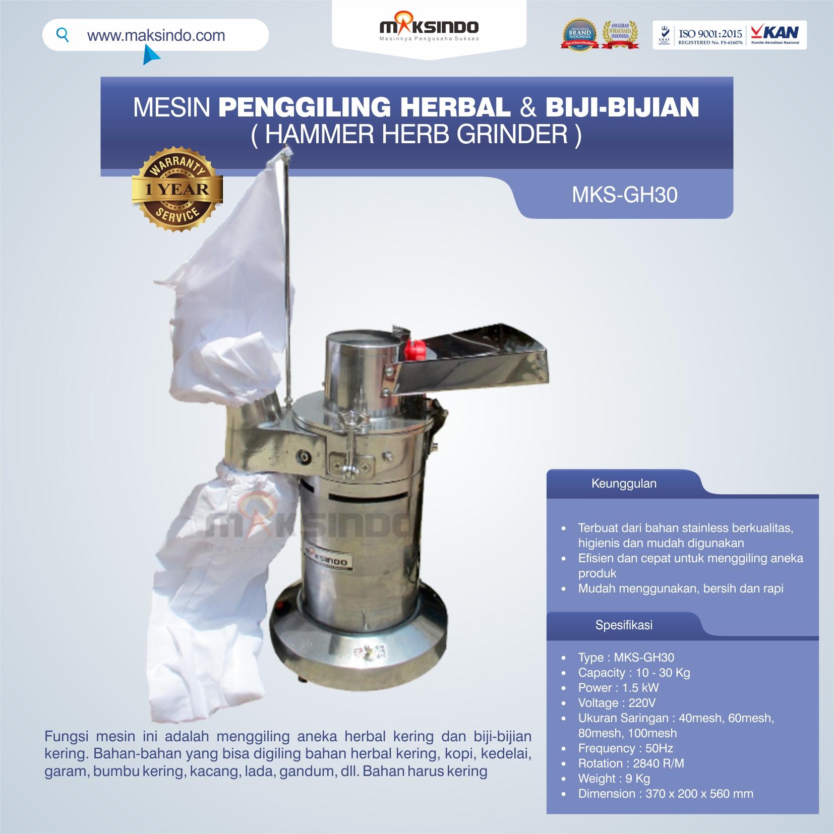 Jual Penggiling Herbal dan Biji-Bijian (GH-30) di Yogyakarta