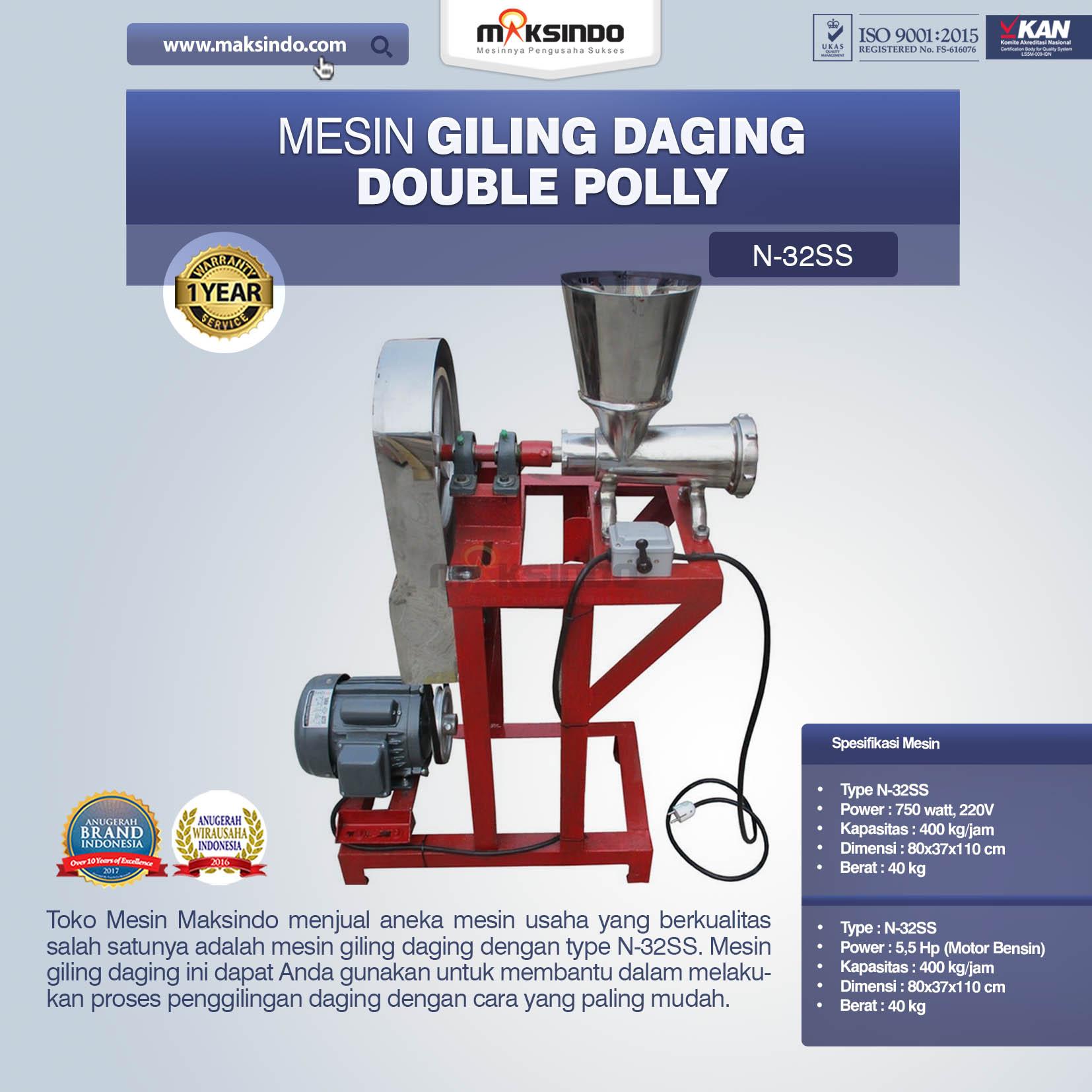 Jual Mesin Giling Daging Double Polly N-32SS di Yogyakarta