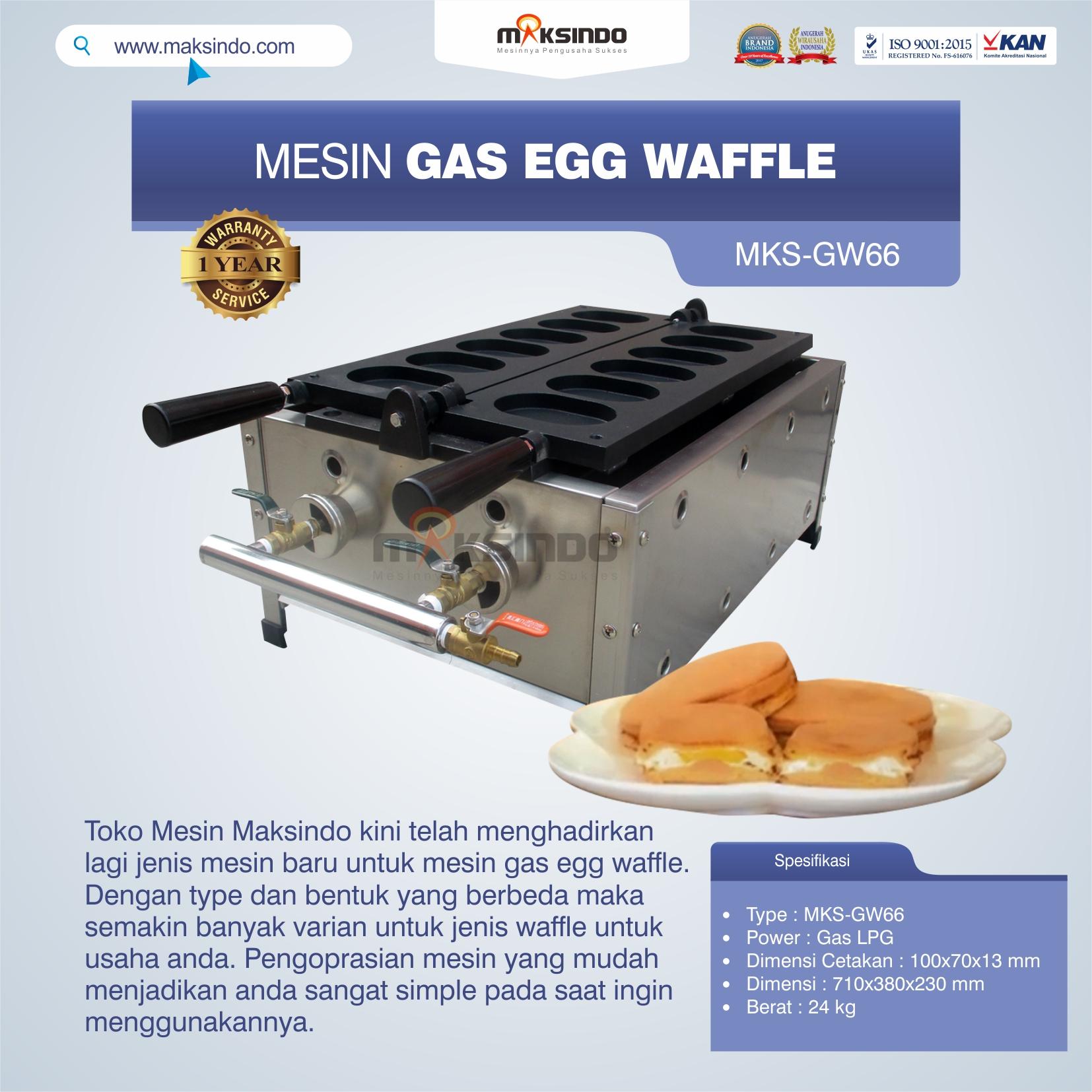 Jual Mesin Gas Egg Waffle MKS-GW66 di Yogyakarta