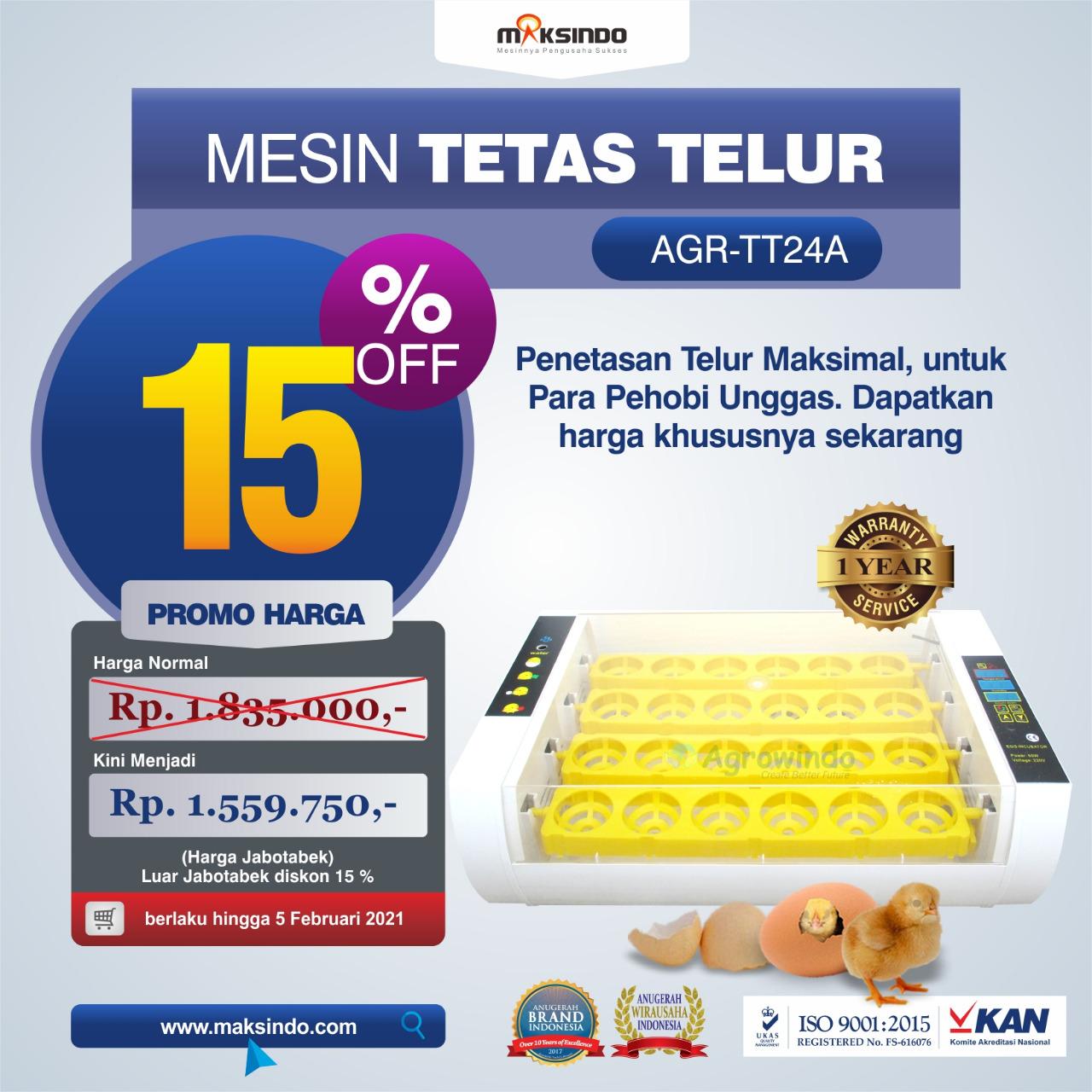 Jual Mesin Penetas Telur AGR-TT24A di Yogyakarta