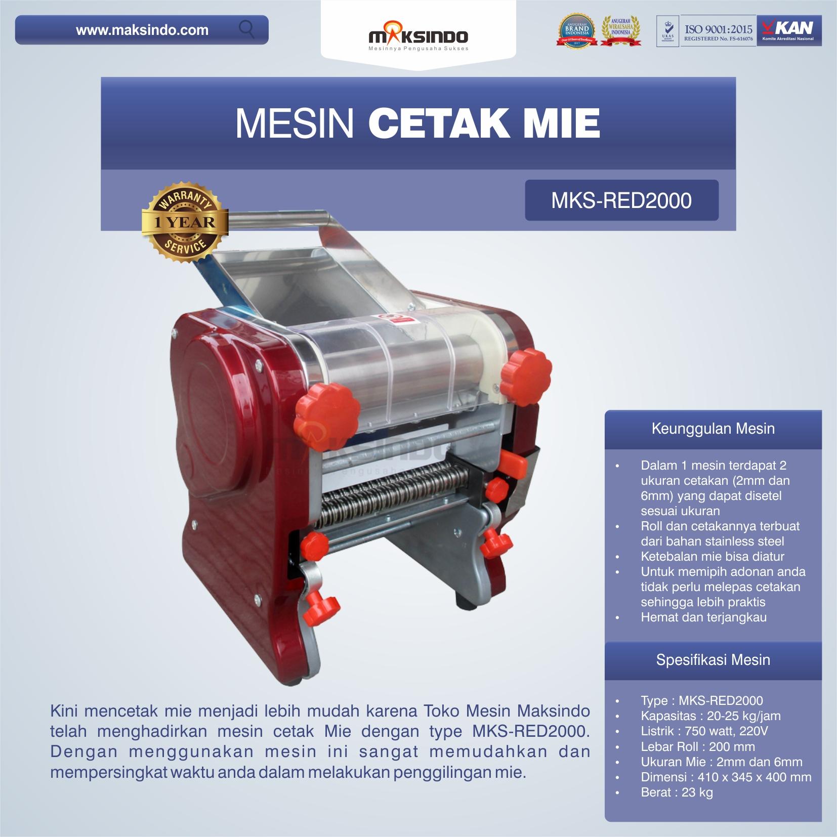 Jual Mesin Cetak Mie MKS-RED2000 di Yogyakarta
