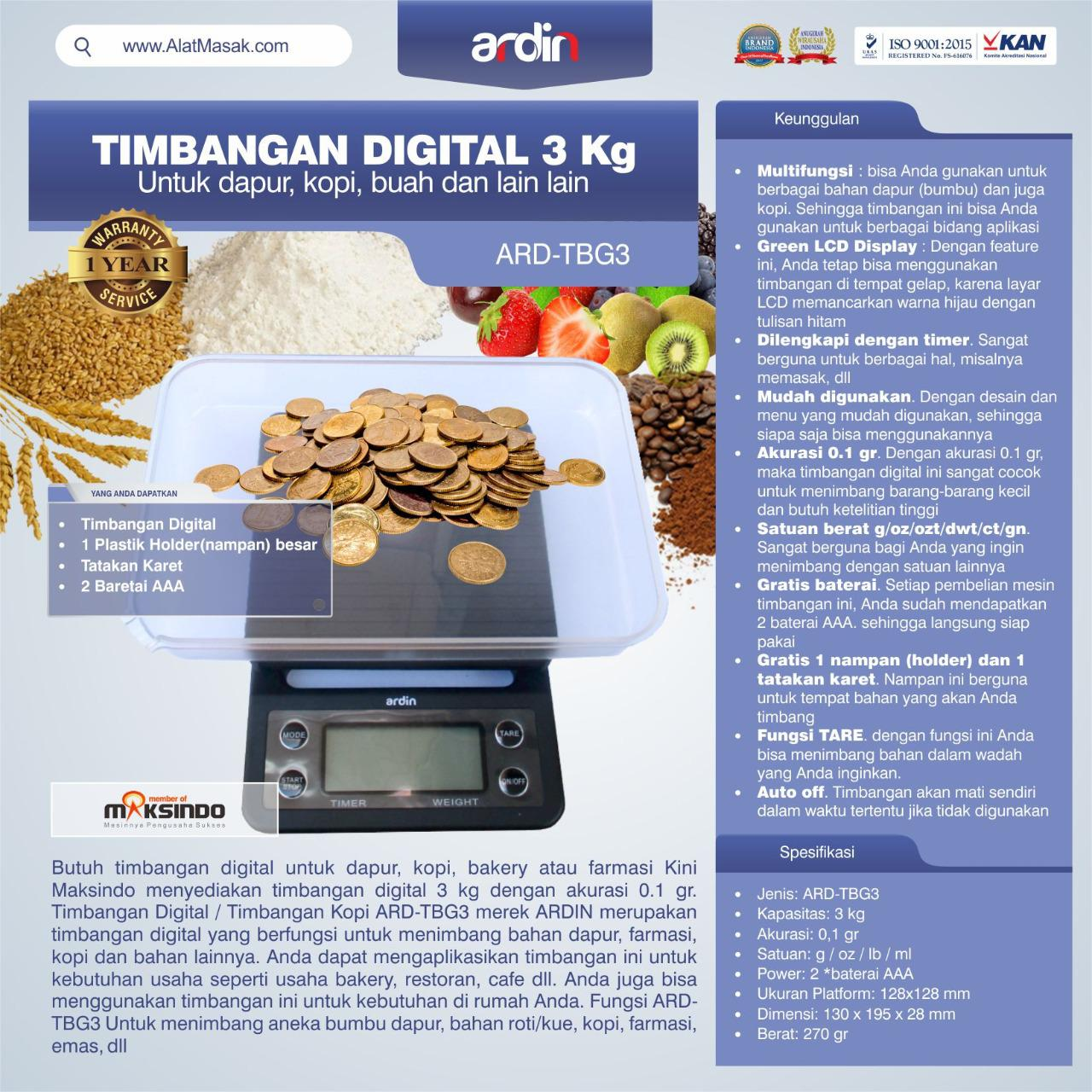 Jual Timbangan Digital 3 kg / Timbangan Kopi ARD-TBG3 di Yogyakarta