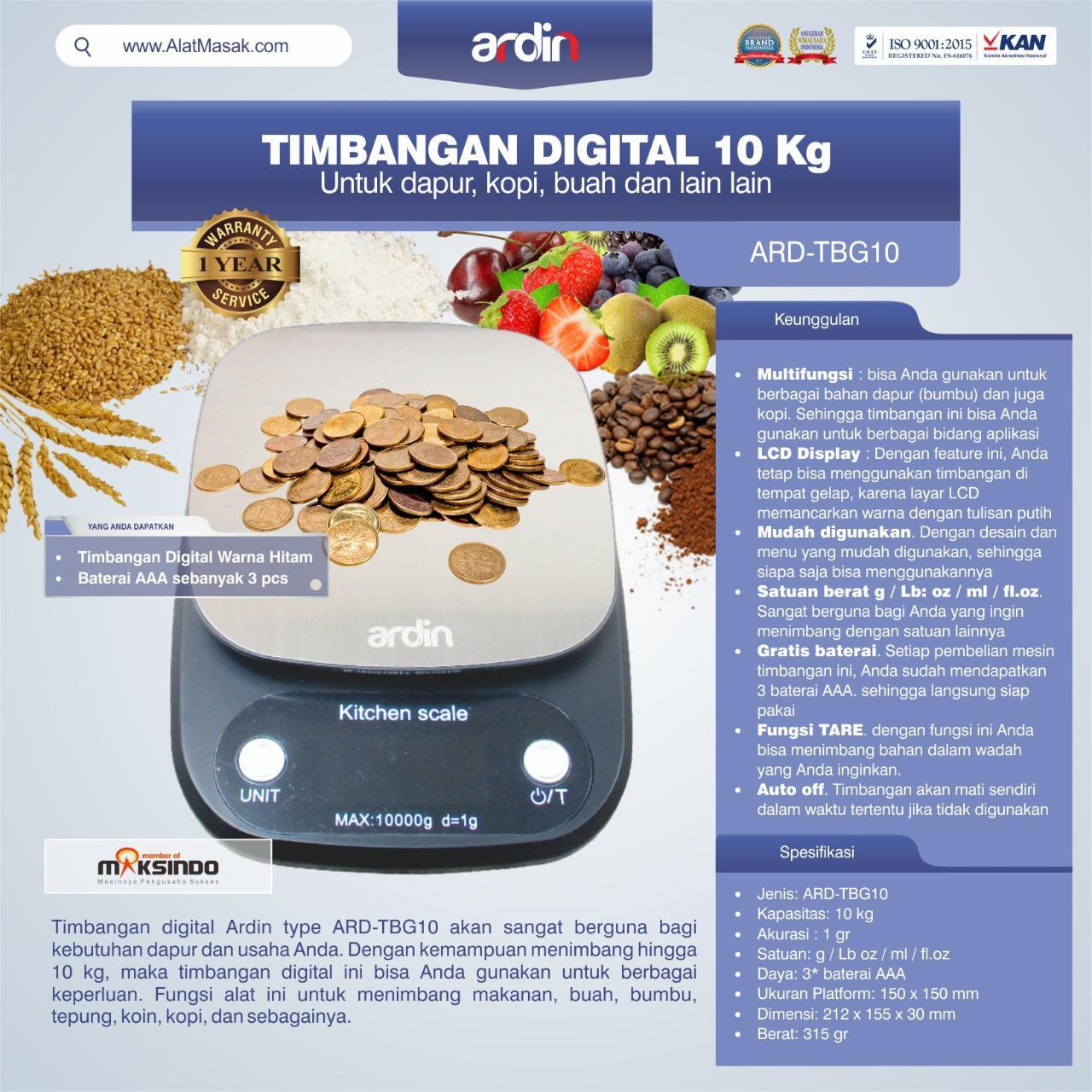 Jual Timbangan Digital 10 kg / Timbangan Kopi ARD-TBG10 di Yogyakarta