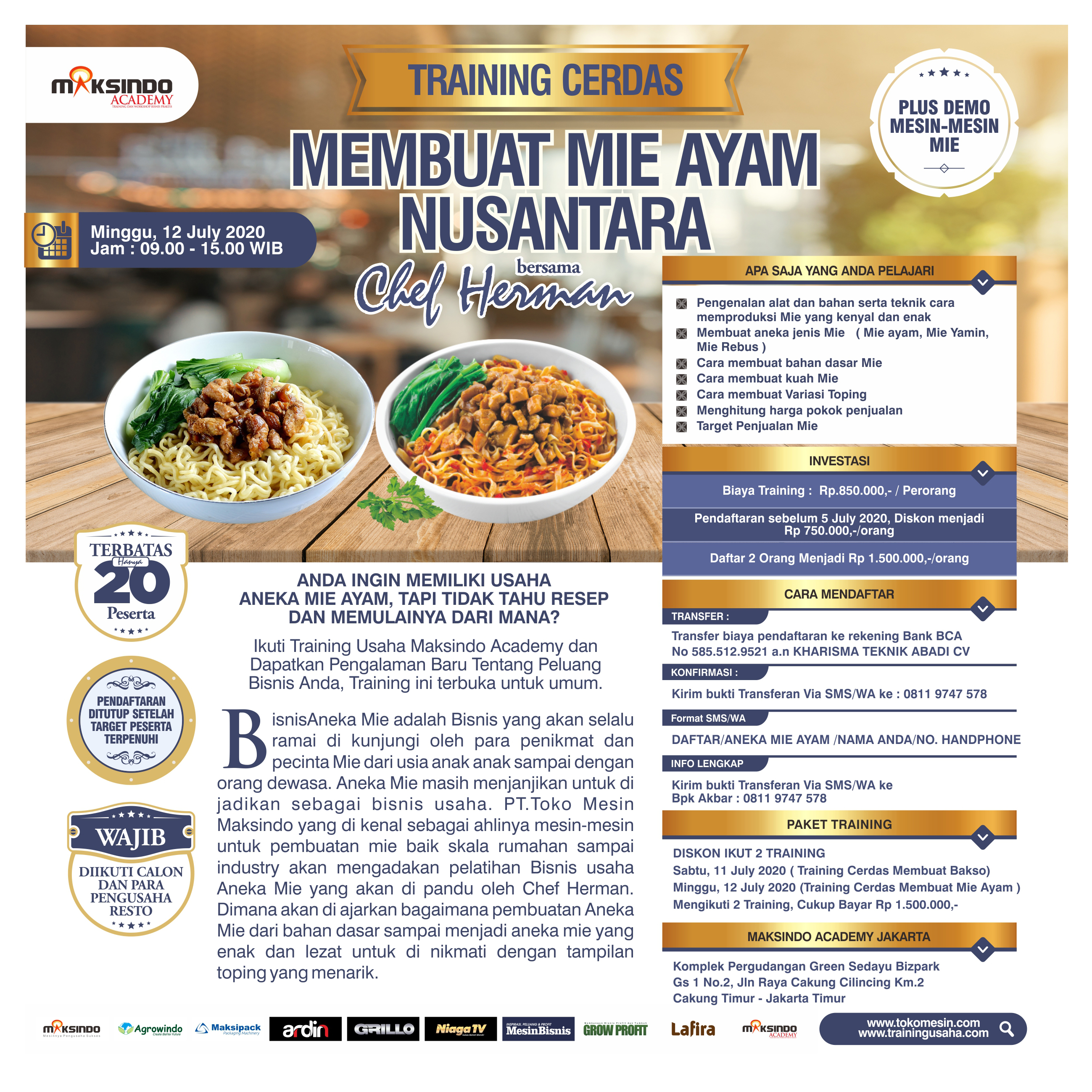 Training Cerdas Membuat Mie Ayam Nusantara, Minggu, 12 July 2020