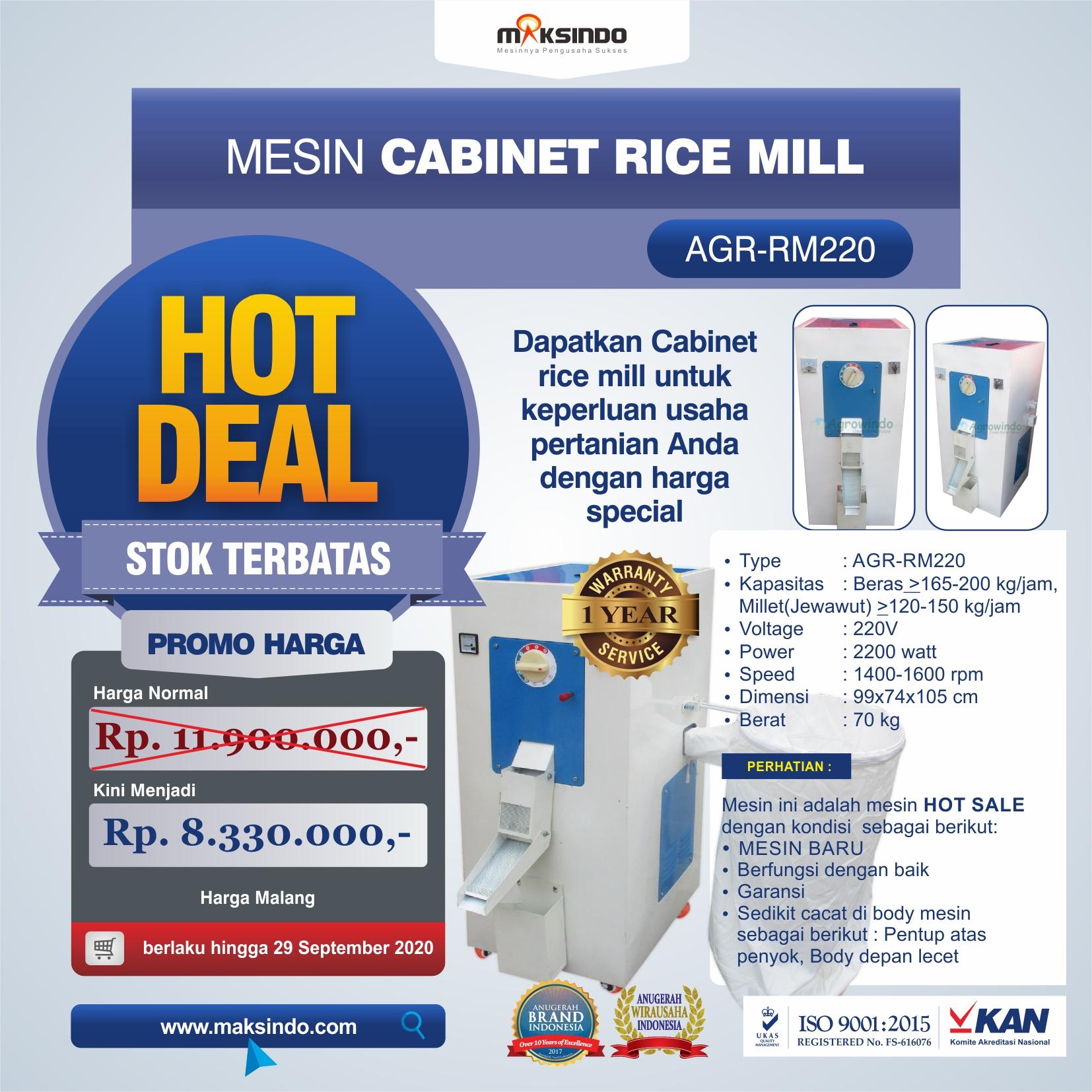 Jual Mesin Cabinet Rice Mill AGR-RM220 di Yogyakarta