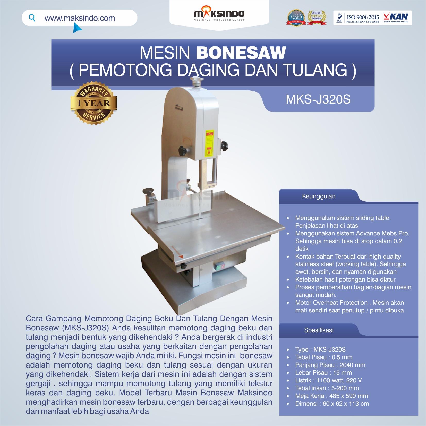 Jual Mesin Bonesaw MKS-J320S (pemotong daging dan tulang) di Yogyakarta