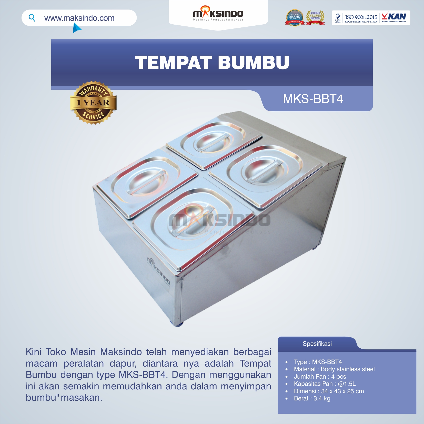 Jual Tempat Bumbu MKS-BBT4 di Yogyakarta