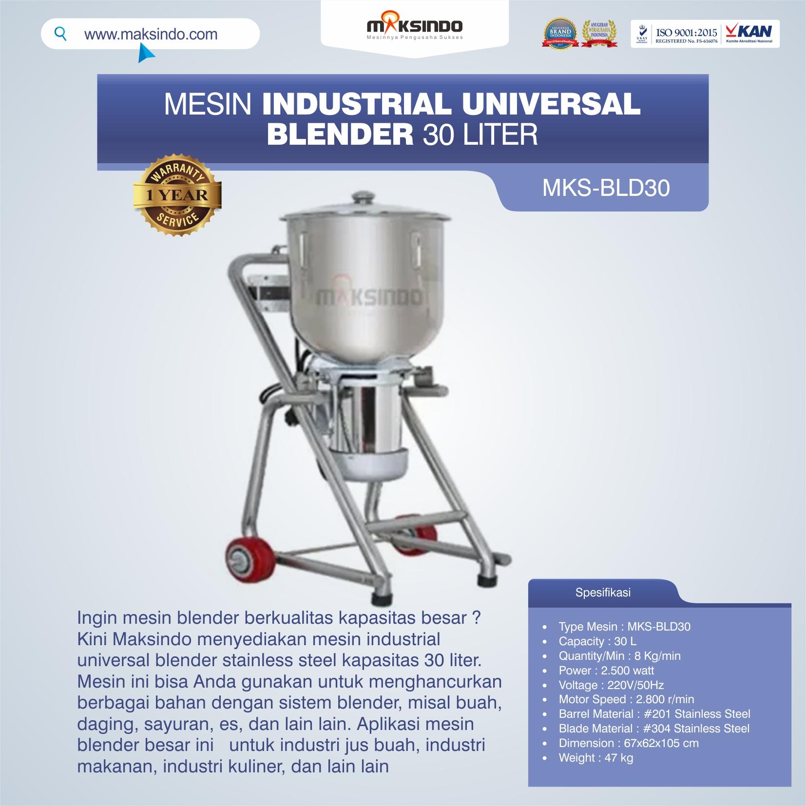 Jual Industrial Universal Blender 30 Liter MKS-BLD30 di Yogyakarta