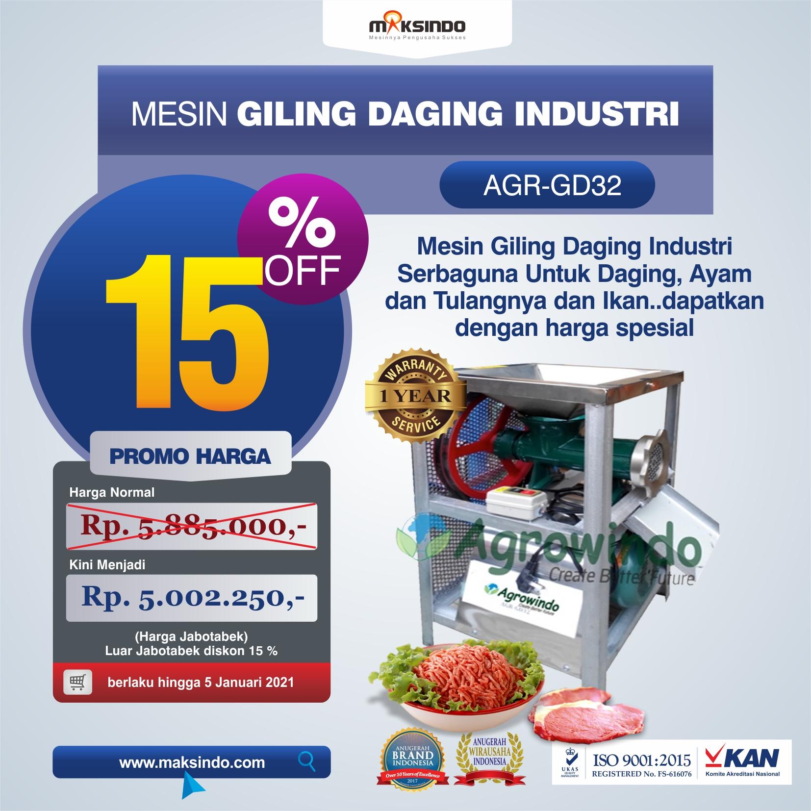 Jual Mesin Giling Daging Industri (AGR-GD32) di Yogyakarta
