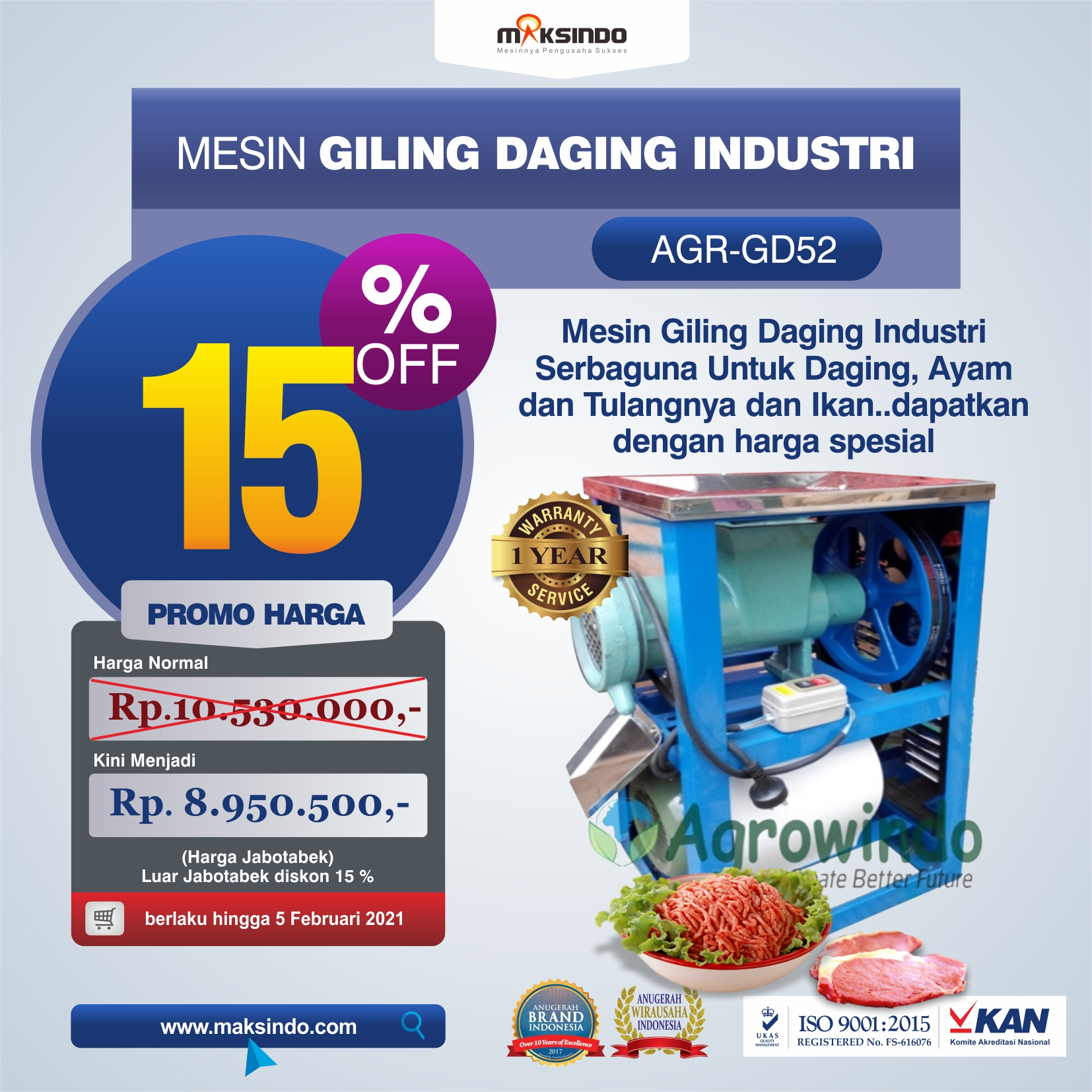 Jual Mesin Giling Daging Industri (AGR-GD52) di Yogyakarta