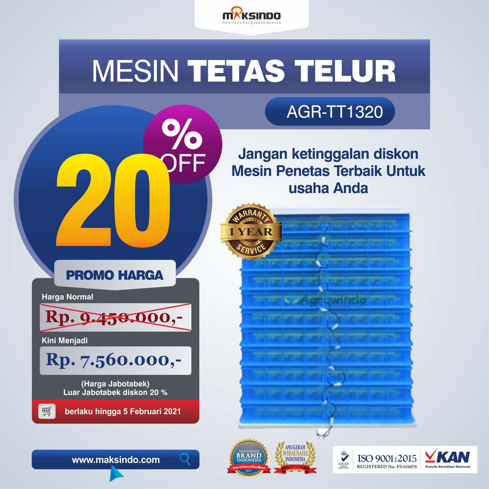 Jual Mesin Penetas Telur AGR-TT1320 di Yogyakarta