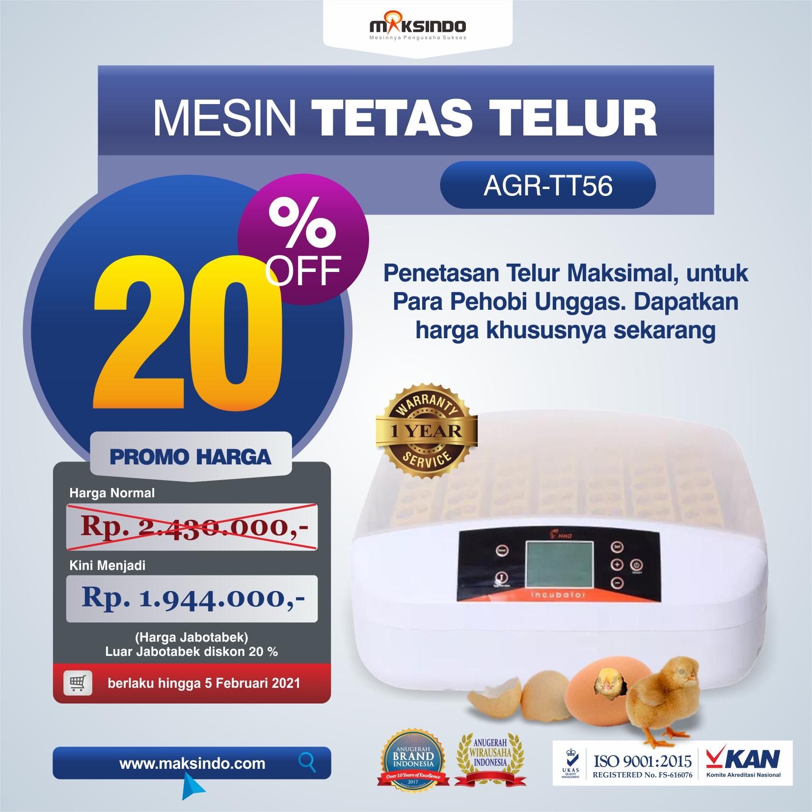Jual Mesin Penetas Telur 56 Butir (AGR-TT56) di Yogyakarta