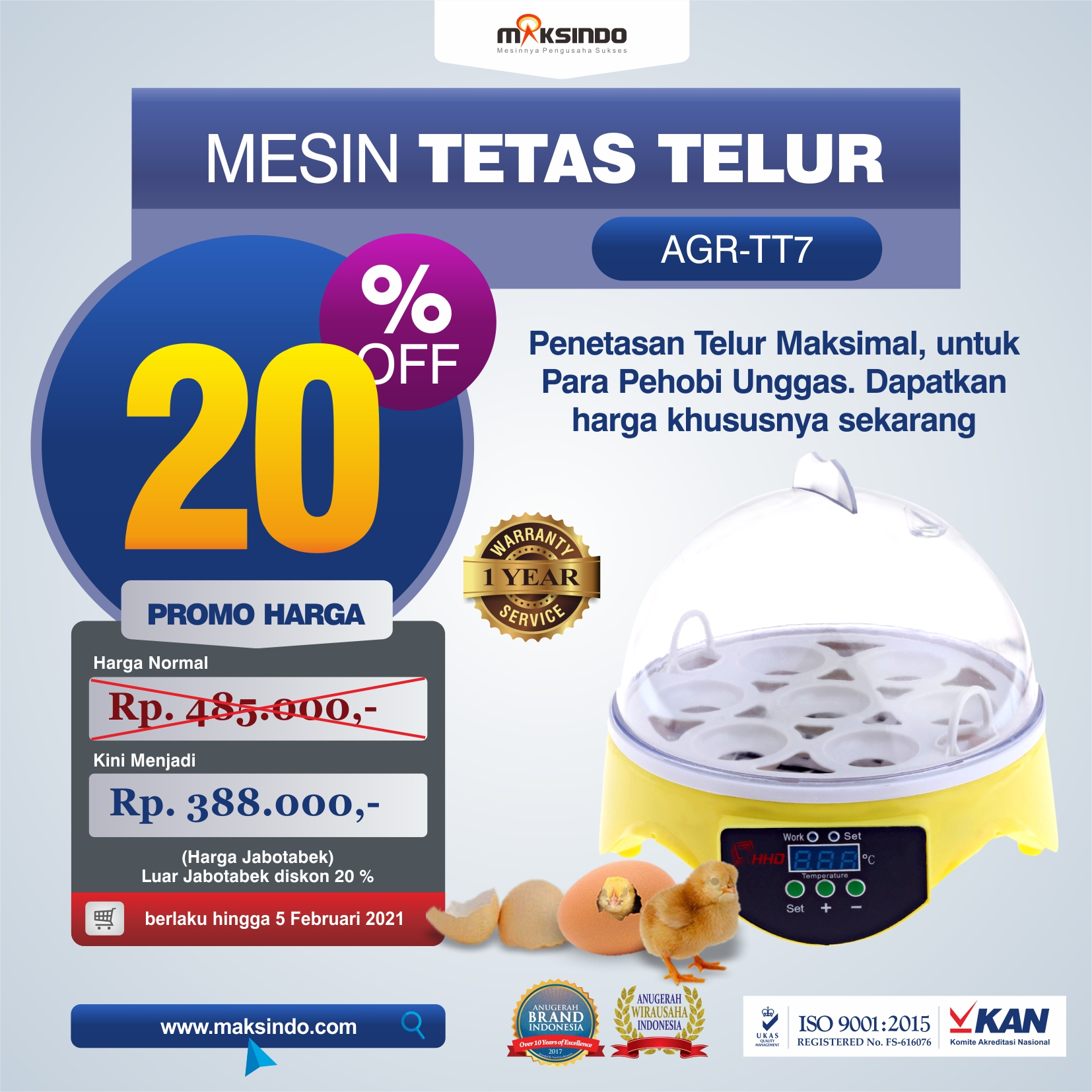Jual Mesin Penetas Telur 7 Butir di Yogyakarta