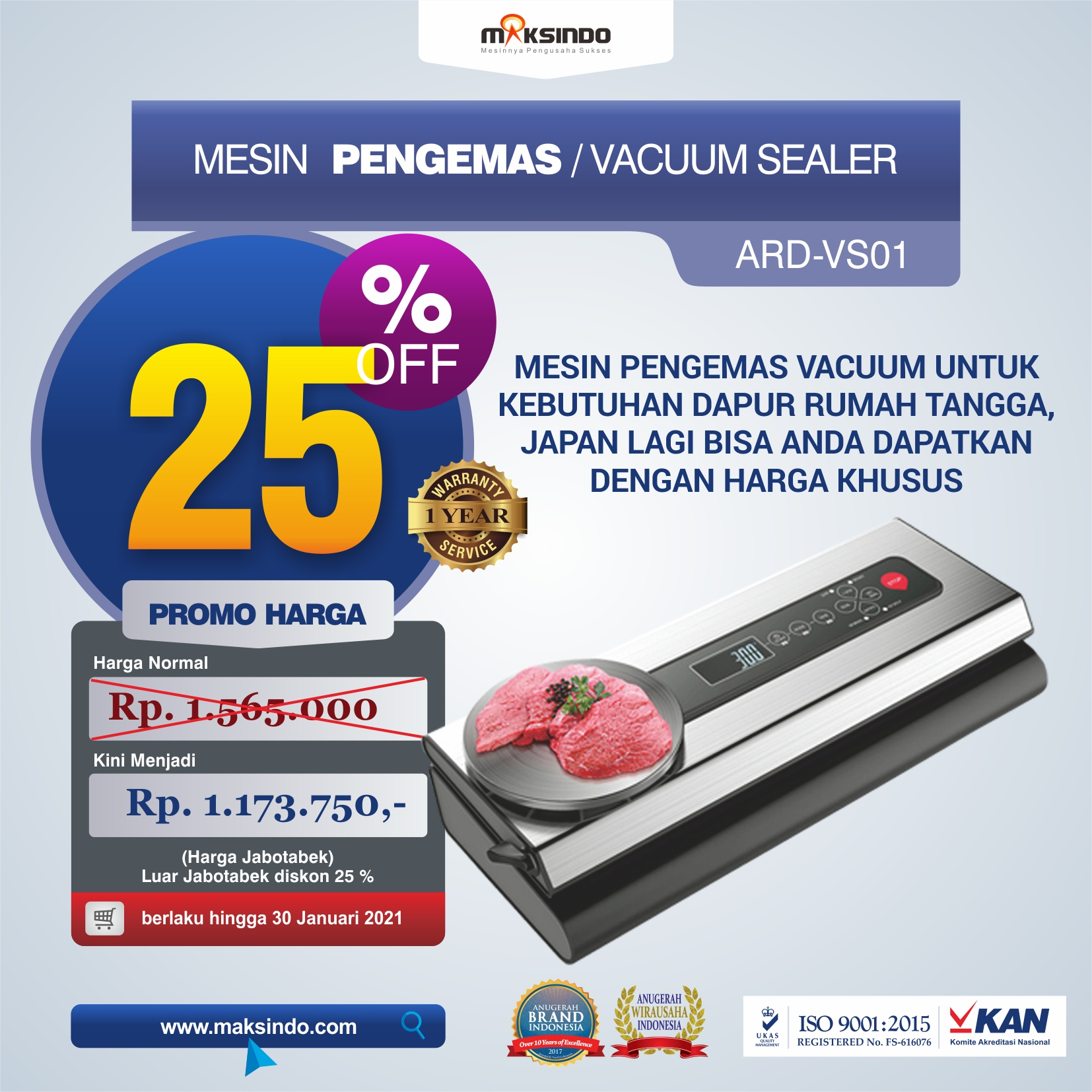 Jual Mesin Pengemas Vacuum Sealer ARD-VS01 di Yogyakarta