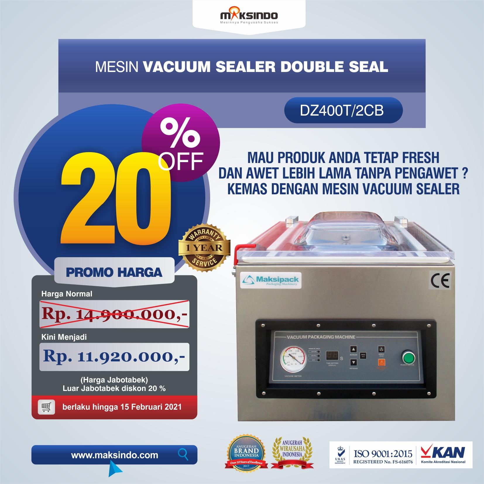 Jual Vacuum Sealer Double Seal DZ400T/2CB di Yogyakarta