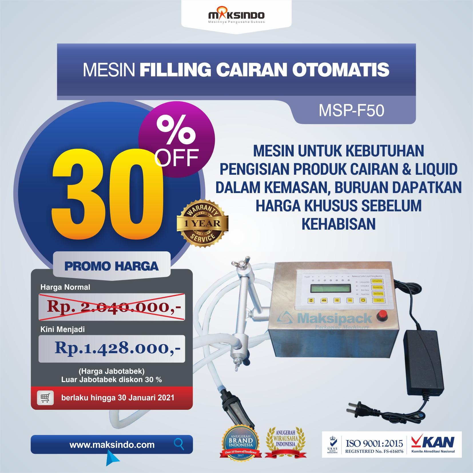 Jual Mesin Filling Cairan Otomatis MSP-F50 di Yogyakarta
