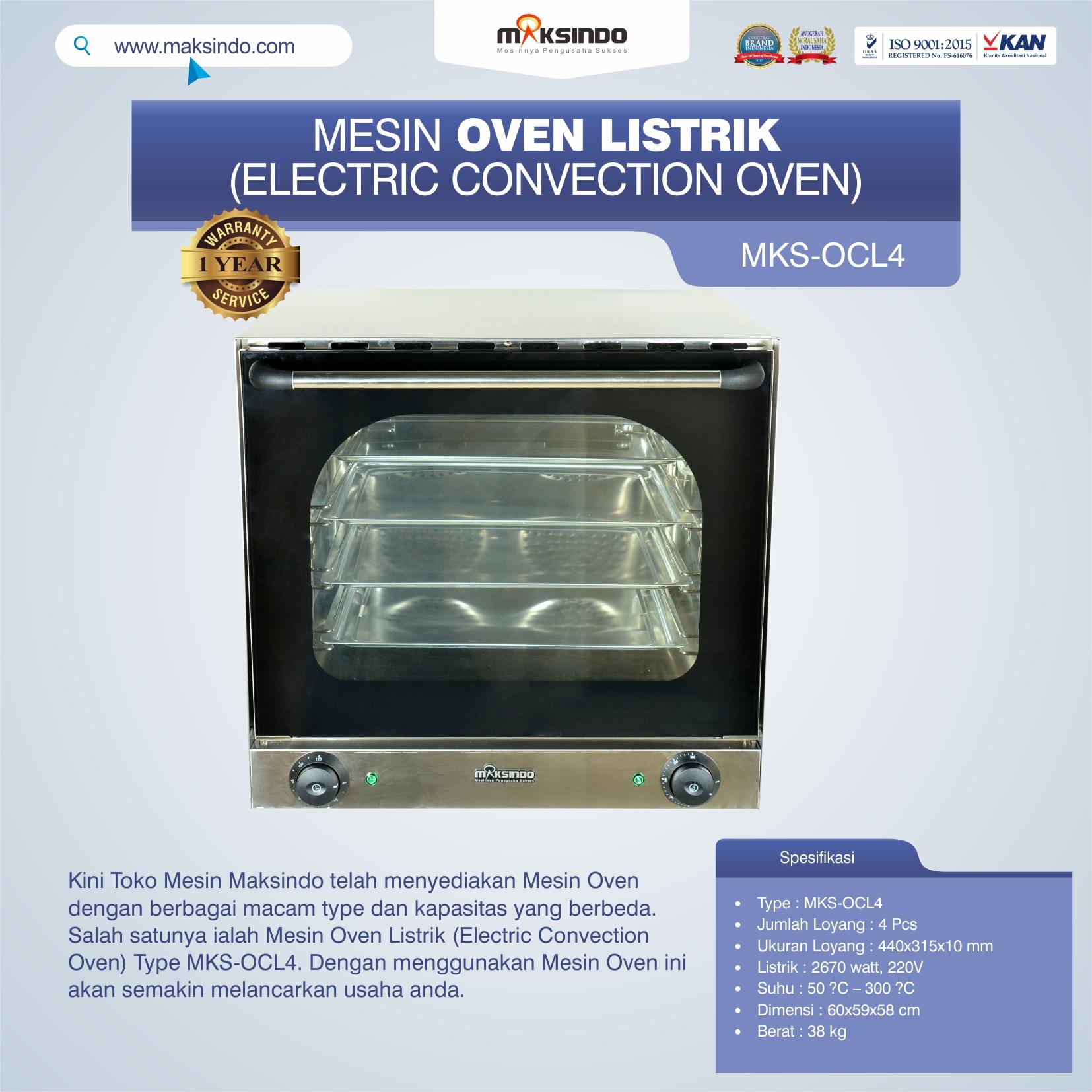 Jual Mesin Oven Listrik (Electric Convection Oven) MKS-OCL4 di Yogyakarta